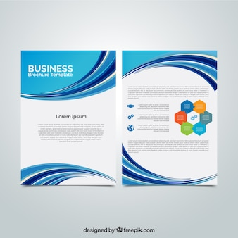 Business brochure with blue wavy shapes