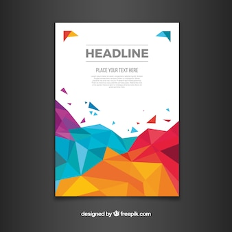 Business brochure with colorful polygonal design