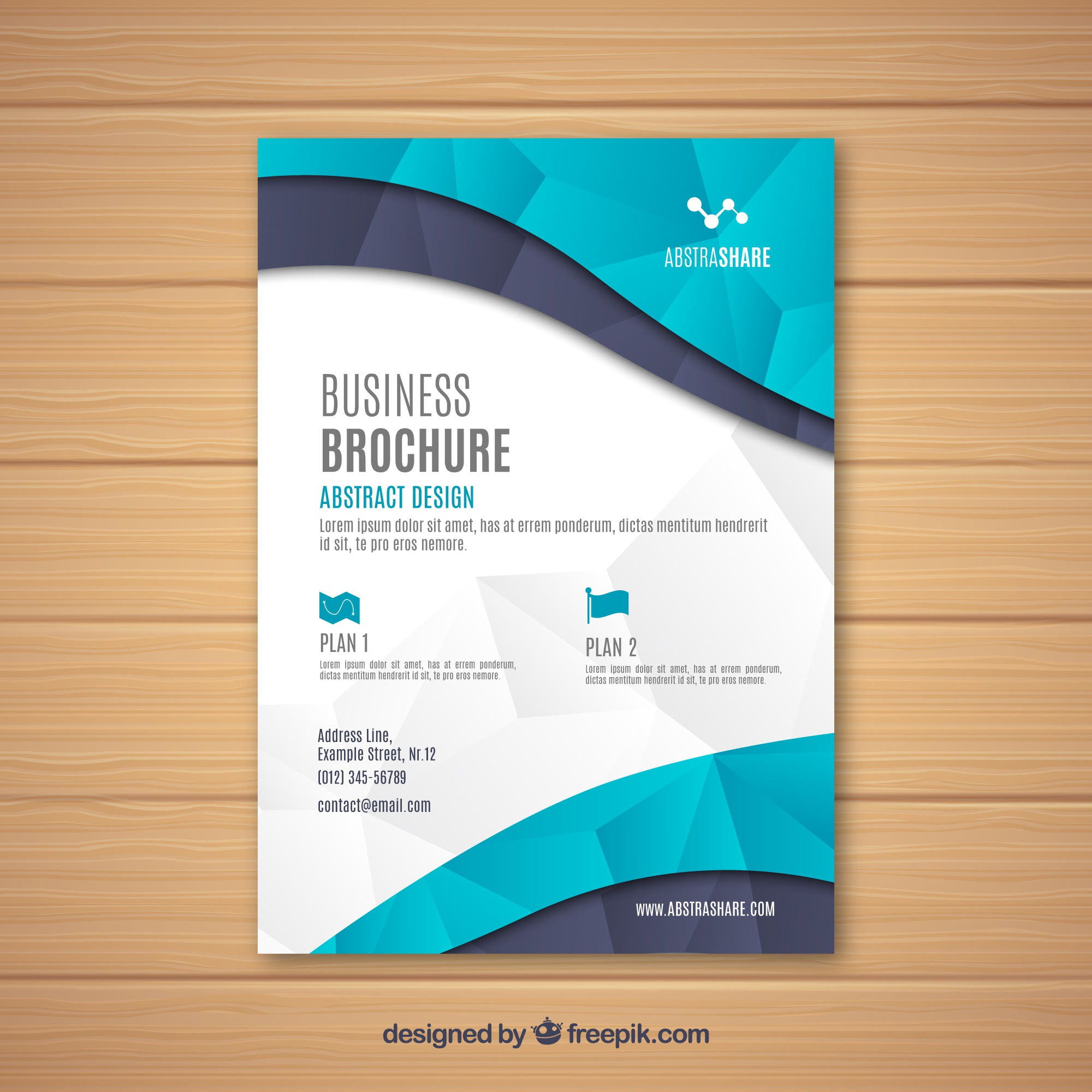 Business brochure with geometric and abstract figures