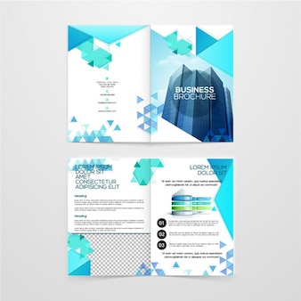 Business brochure with geometric shapes in blue tones