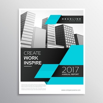 Business brochure with intense blue geometric shapes
