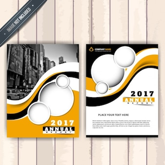 Business brochure with oranges shapes