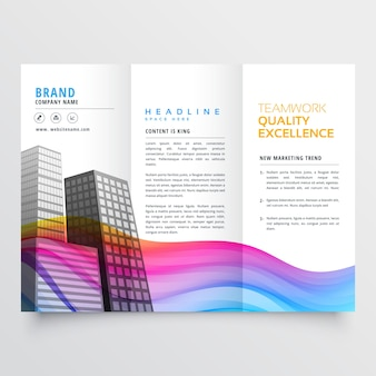 Business brochure with wavy shapes in rainbow color