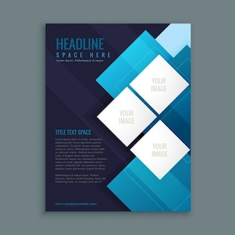 Business brochure with white squares on a blue background