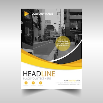 Business brochure with yellow shapes
