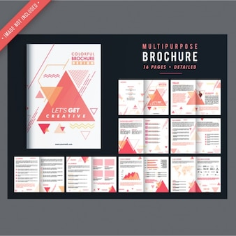 Business brochures with geometric shapes in pastel colors