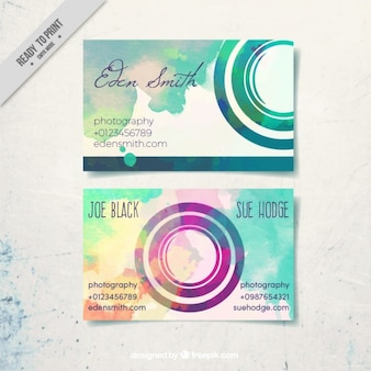 Business card, watercolor and round shapes