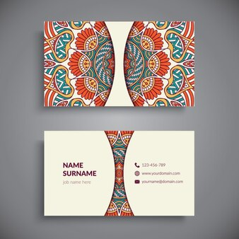 Business card decorated with an amazing mandala