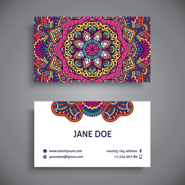 Business card decorated with full color mandalas