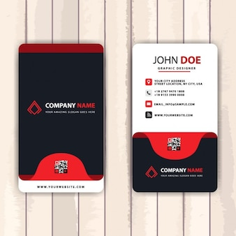 Business card decorated with red tabs