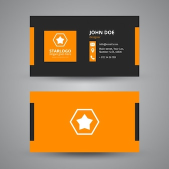 Business card in black and orange
