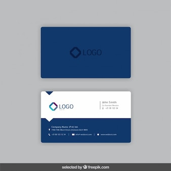 Business card in dark blue color