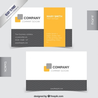 Business card in grey and yellow tones