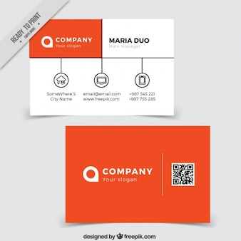 Business card in orange tones