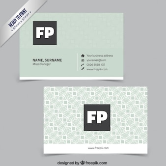 Business card in pastel green