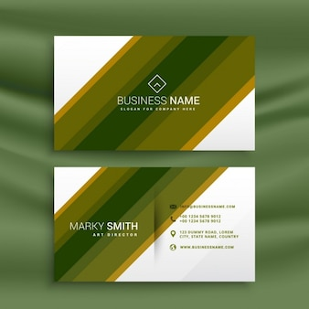 Business card of green stripes