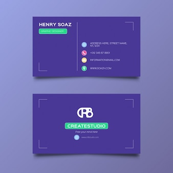 Business card over a purple background