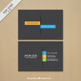 Business card photography, minimal style