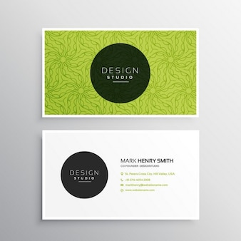 Business card template in green color