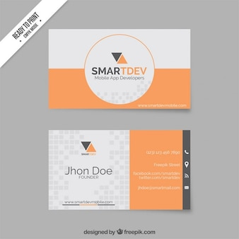Business card template in orange and grey tones
