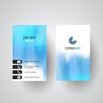 Business card template with a watercolour design