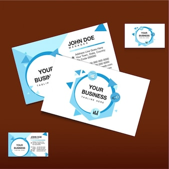 Business card template with blue shapes