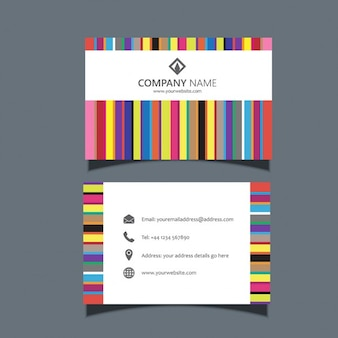 Business card template with colorful lines