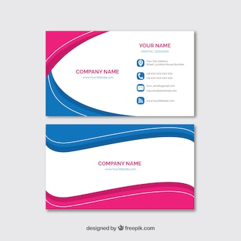 Business card template with colorful waves