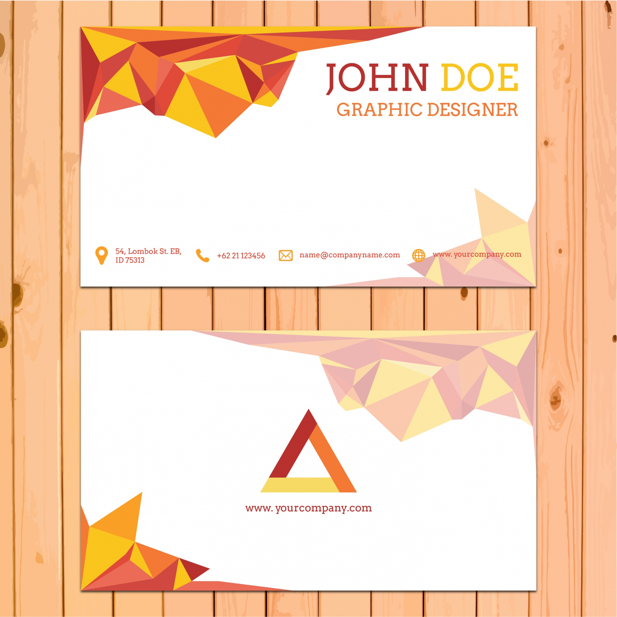 Business card template with polygonal shapes