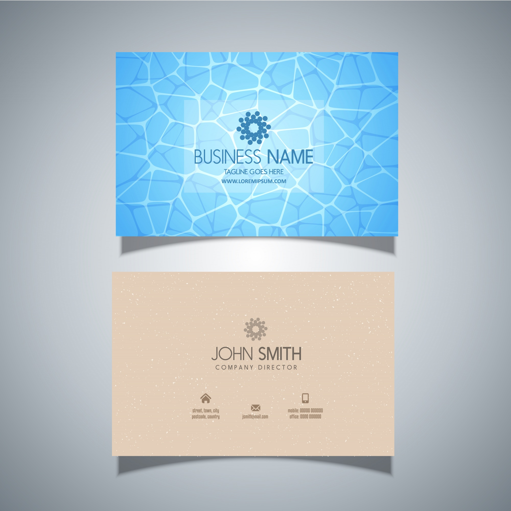 Business card template with swimming pool water texture