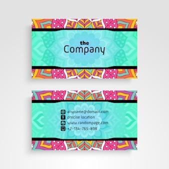 Визитная карточка. Винтажные декоративные элементы. Декоративные цветочные визитные карточки или приглашение с мандалой