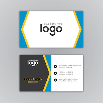 Business card white and blue design