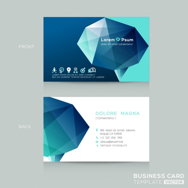 Business card with a 3d polygonal shape