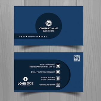 Business card with a blue circle