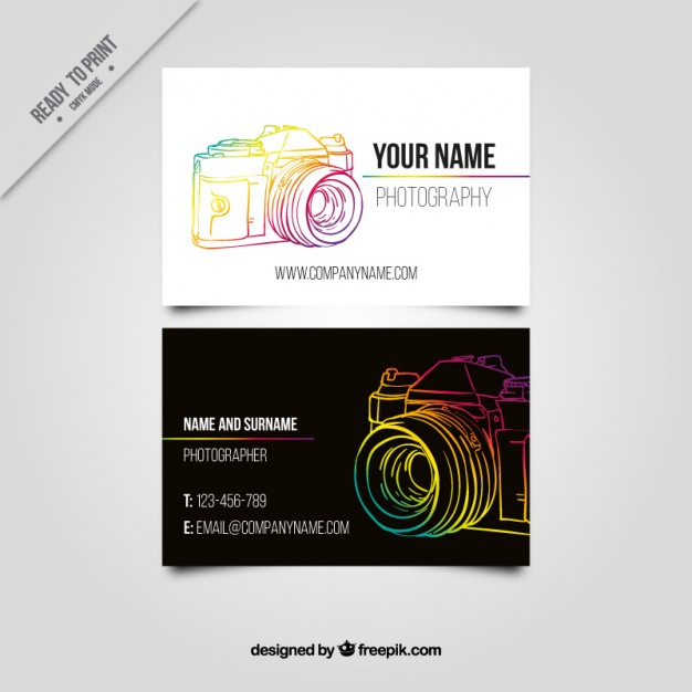 Business card with a colorful hand drawn camera