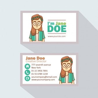 Business card with a girl avatar