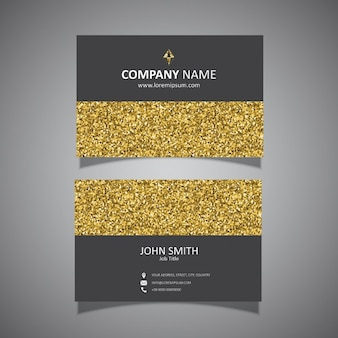 Business card with a gold glitter