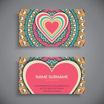 Business card with a mandala and a heart