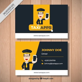 Business card with a nice taxi driver