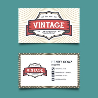 Business card with a retro logo