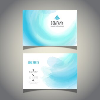 Business card with a watercolour wave design