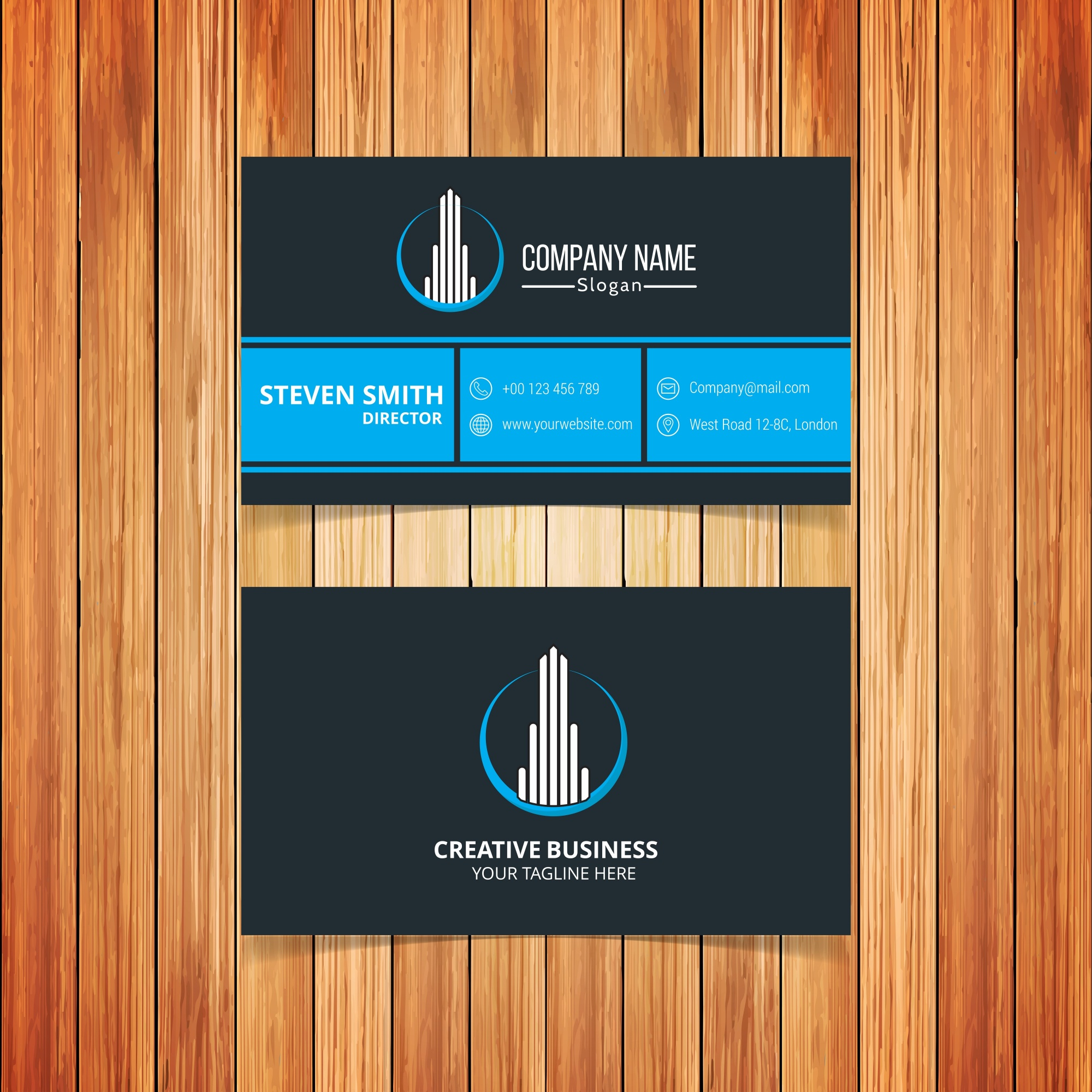 Business card with abstract building