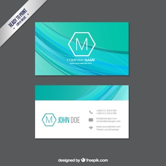 Business card with abstract waves