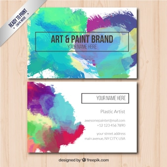 Business card with art and paint brand