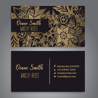 Business card with beautiful flowers.Template