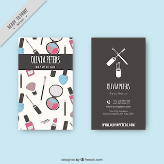 Business card with beauty accessories