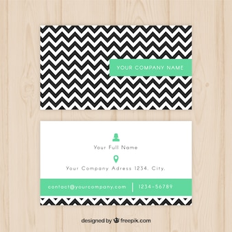 Business card with black zig-zag lines