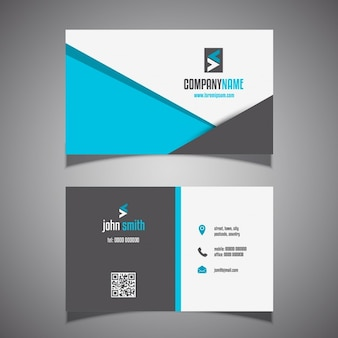 Business card with blue and black geometric shapes