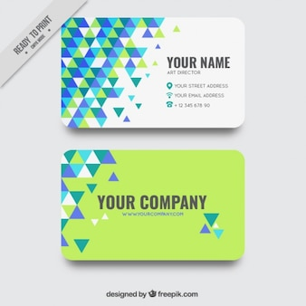 Business card with blue and green triangles