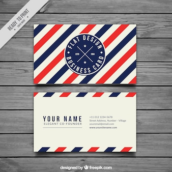 Business card with blue and red stripes